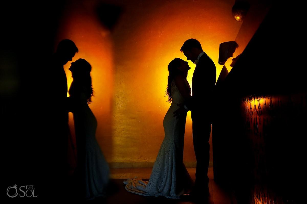 wedding portrait silhouette Paradisus La Perla, Playa del Carmen Mexico