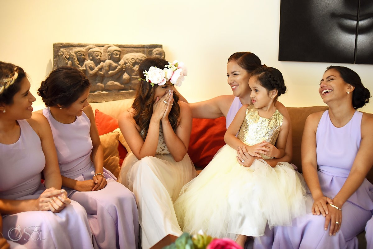 emotionanal bride, bridesmaids getting ready el Taj Hotel