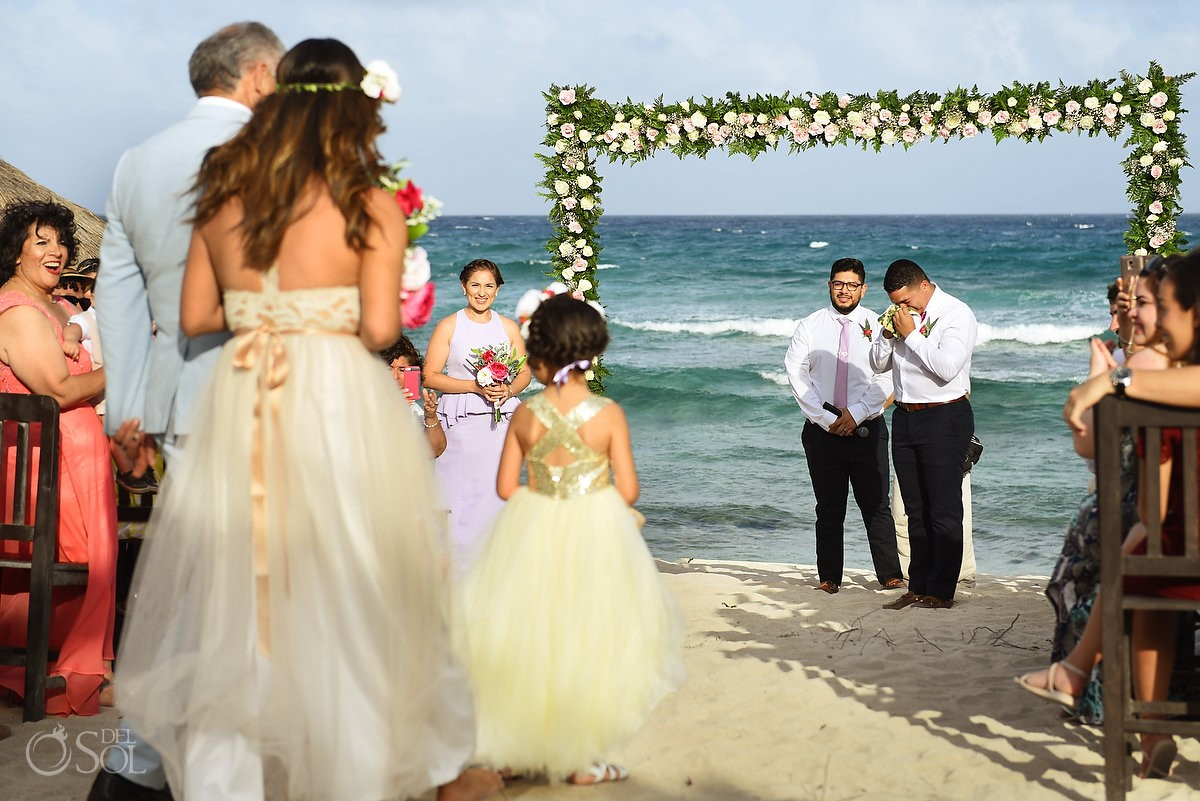 groom crying first look bride entrance wedding ceremony Blue Venado Beach Club Playa del Carmen