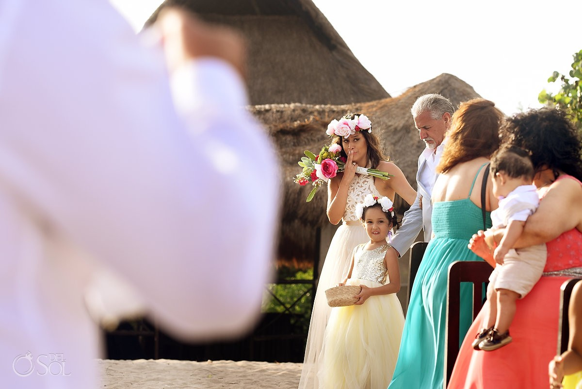 emotional bride entrance wedding ceremony Blue Venado Beach Club Playa del Carmen