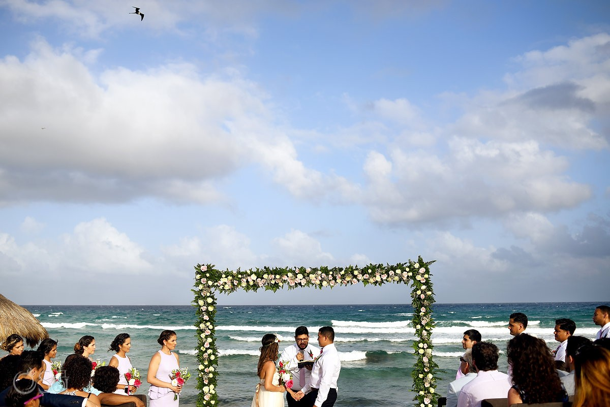 romantic bohemian wedding ceremony Blue Venado Beach Club wedding Playa del Carmen