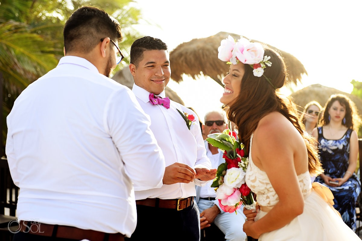 happy bride groom laughing wedding ceremony Blue Venado Beach Club Playa del Carmen