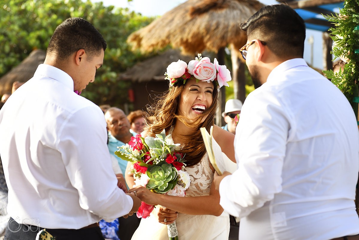 happy bride laughing flower crown wedding ceremony Blue Venado Beach Club Playa del Carmen