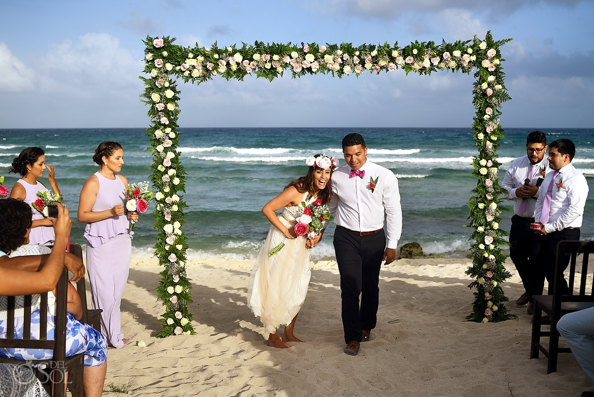 wedding ceremony exit celebration Blue Venado Beach Club Playa del Carmen