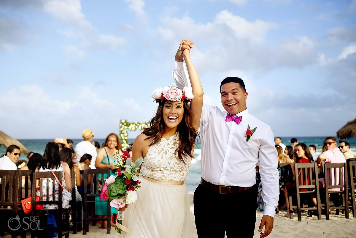 just married wedding ceremony exit celebration Blue Venado Beach Club Playa del Carmen