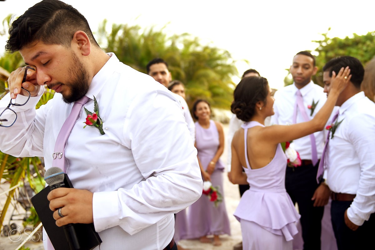 happy tears emotional moment destination wedding Blue Venado Beach Club Playa del Carmen