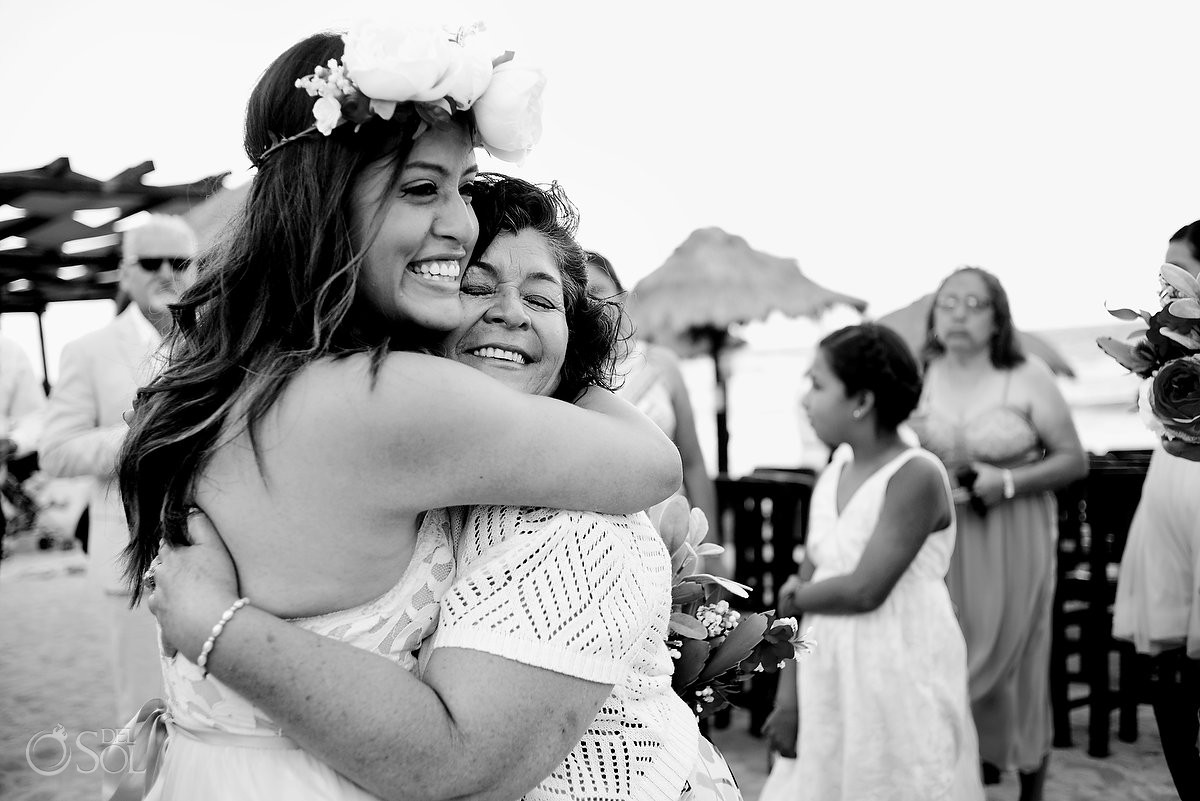 black white wedding photo family love hugs destination wedding Blue Venado Beach Club Playa del Carmen