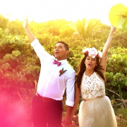 happy wedding portrait destination wedding Blue Venado Beach Club Playa del Carmen