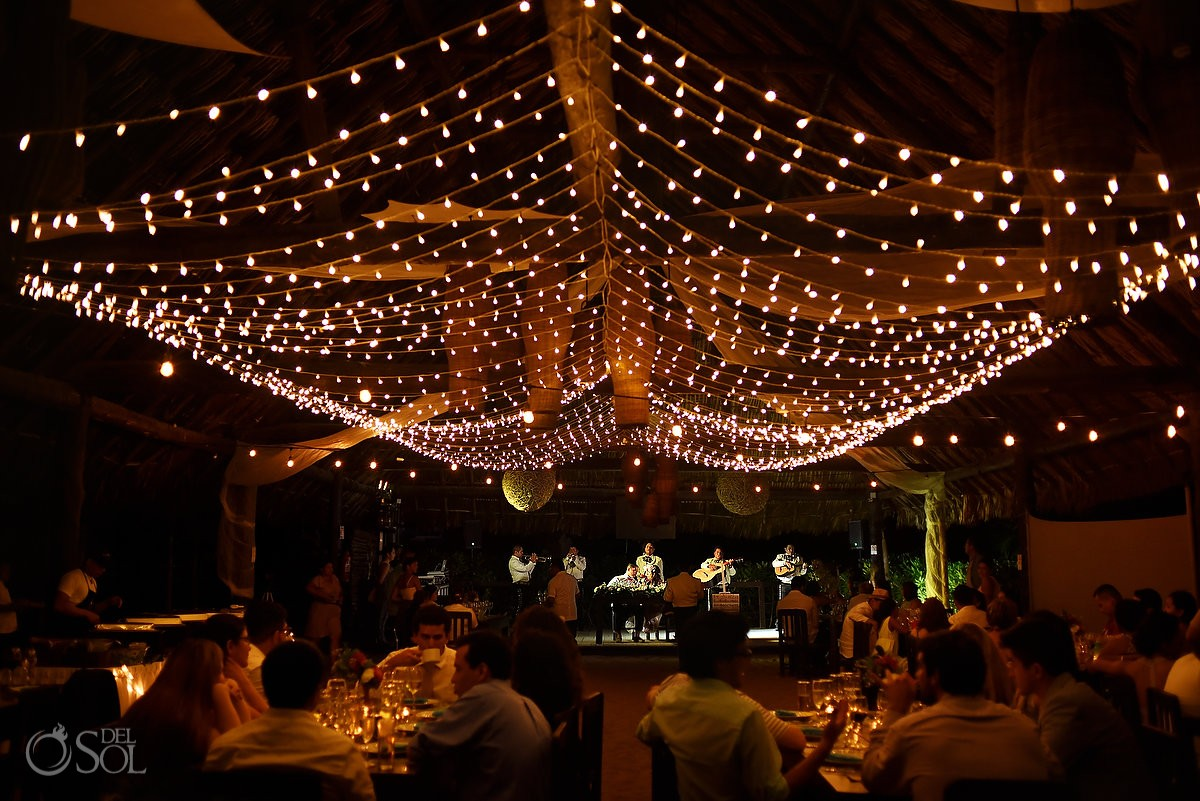 mariachi destination wedding reception set up Blue Venado Beach Club Playa del Carmen