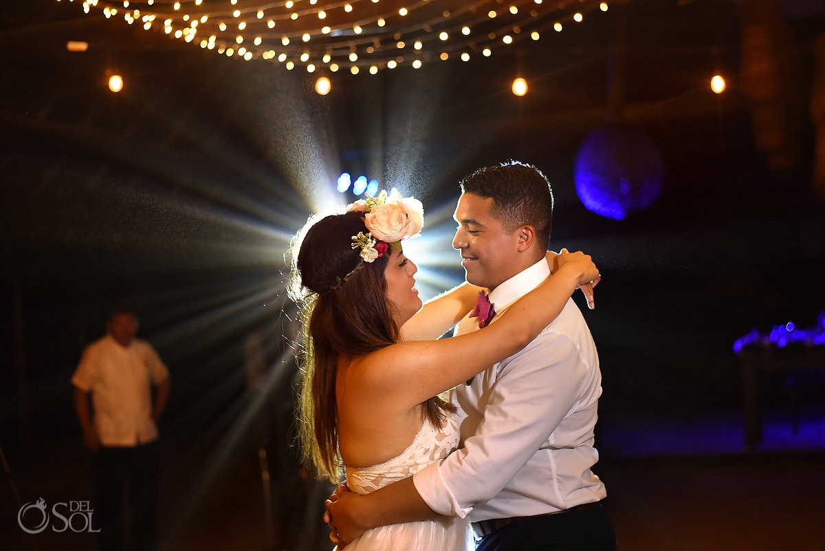 first dance destination wedding reception palapa Blue Venado Beach Club Playa del Carmen