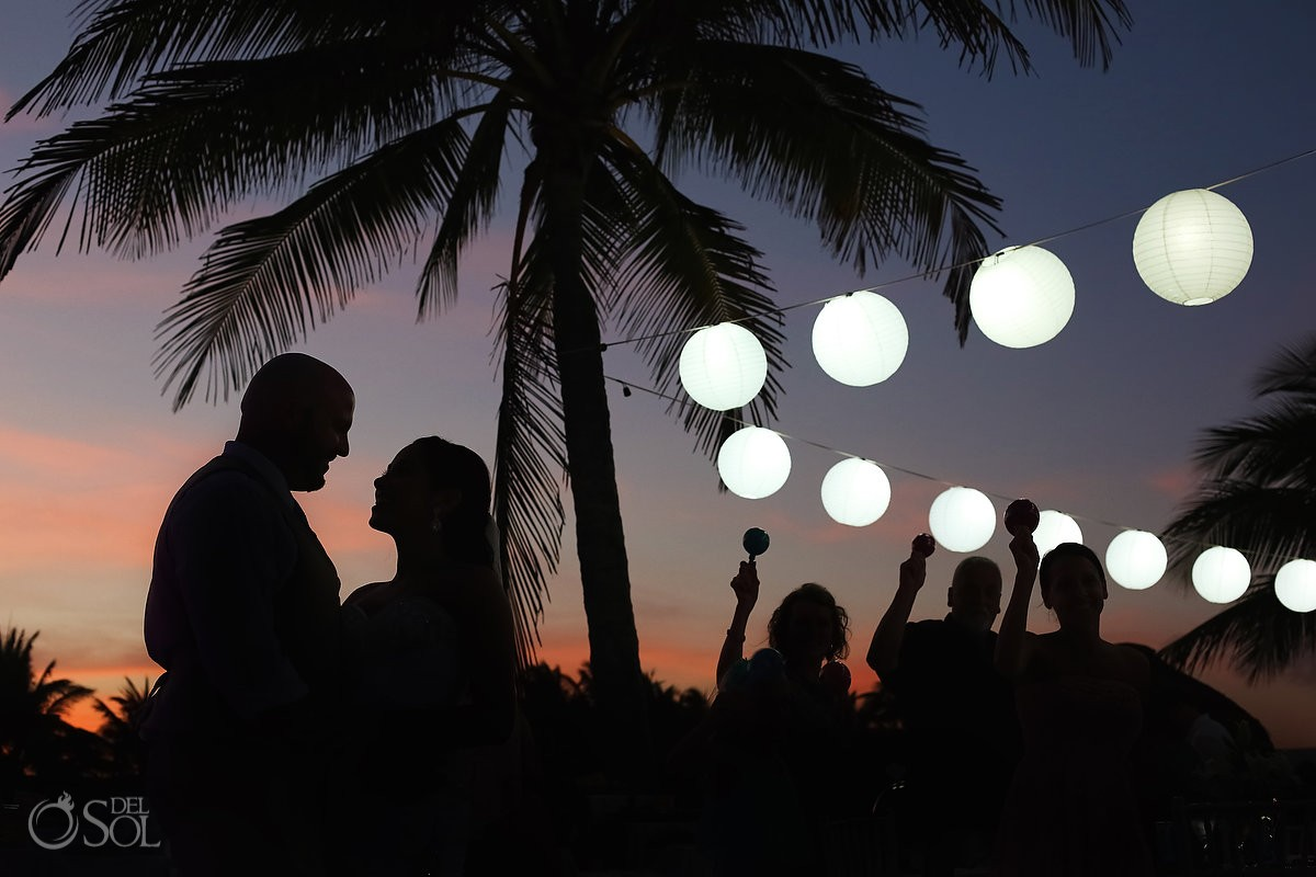 Bride and groom silhouette Destination Weddings Dreams Puerto Aventuras Riviera Maya Mexico