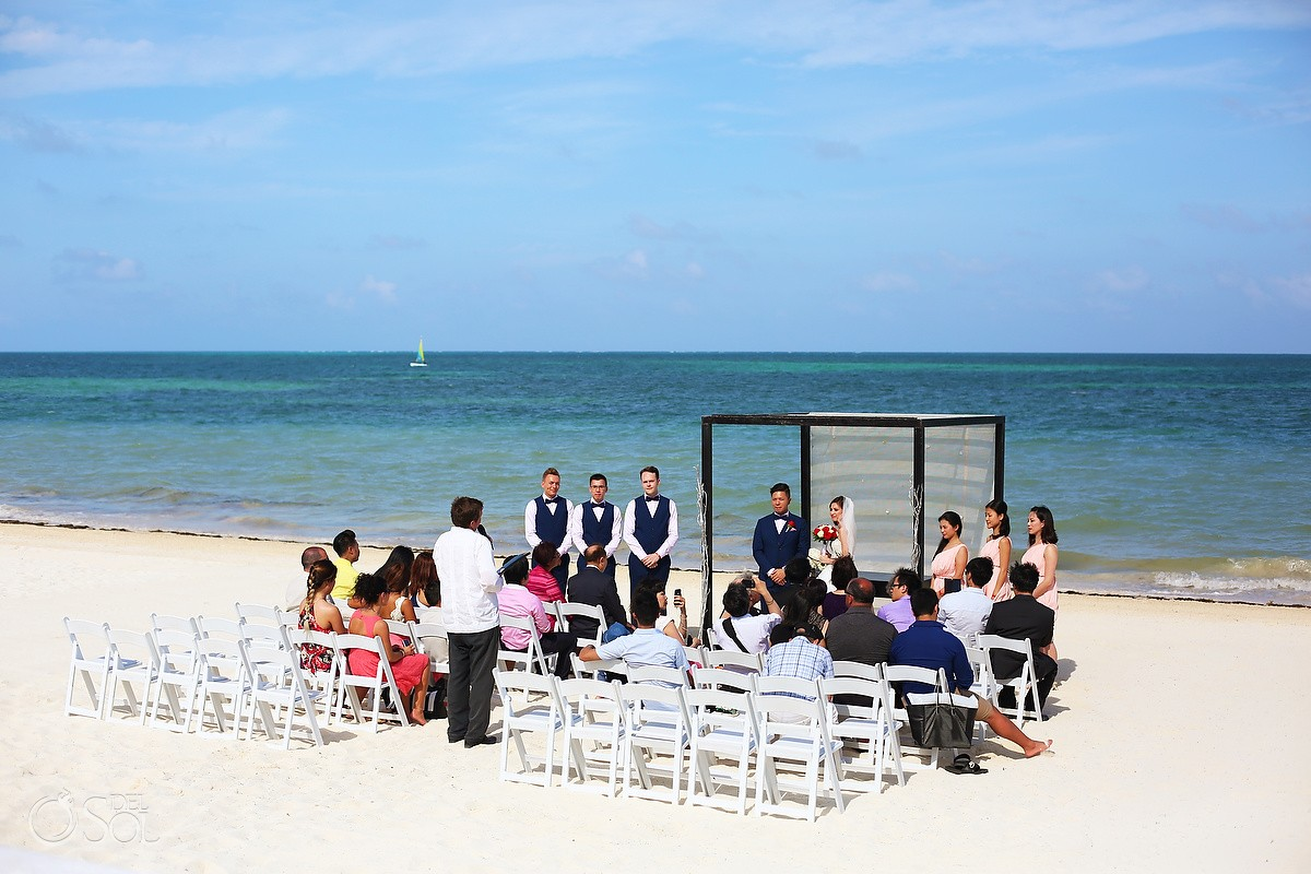 blue sky white sand perfect caribbean weather beach Wedding Moon Palace, Cancun, Mexico