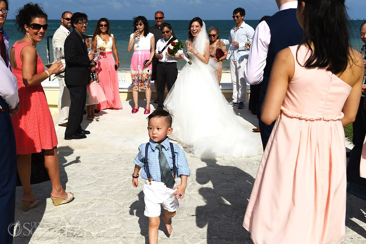 cute kid beach Wedding Moon Palace, Cancun, Mexico