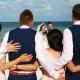 creative fun bridal party wedding portrait idea beach Wedding Moon Palace, Cancun, Mexico