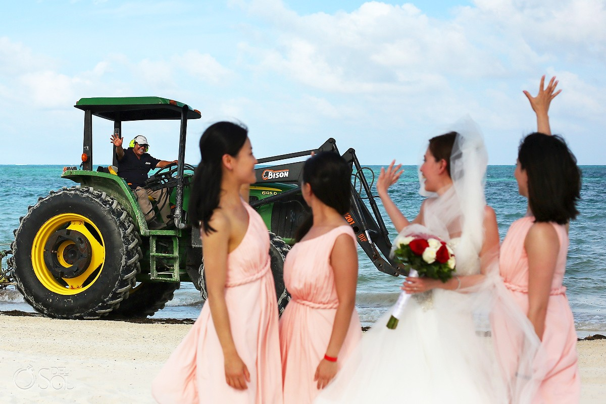 funny wedding photobomb tractor beach Wedding Moon Palace, Cancun, Mexico