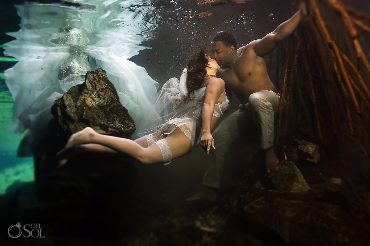 sexy trash the dress underwater wedding photo, white stockings suspenders lingerie, Riviera Maya Mexico