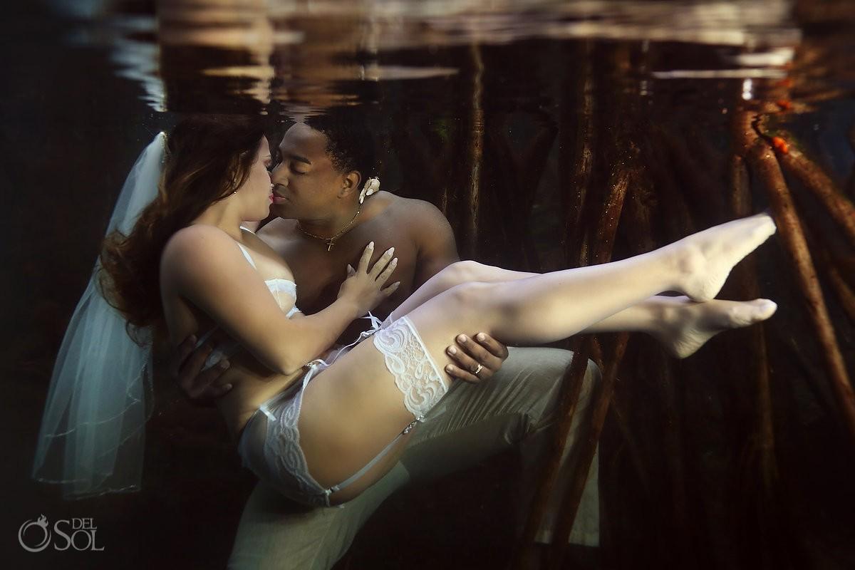 Sexy trash the dress underwater photography boudoir wedding photo, cenote, riviera maya, Mexico