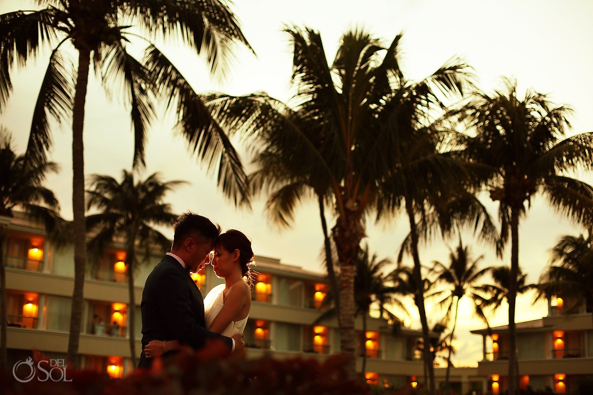 sunset portrait destination Wedding at Moon Palace, Cancun, Mexico