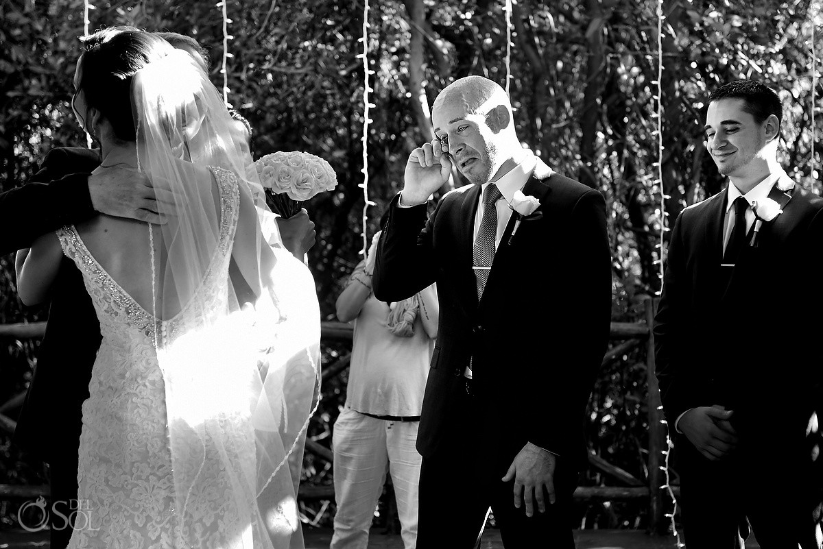 emotional groom crying bride entrance destination wedding Paradisus gazebo Playa del Carmen, Mexico