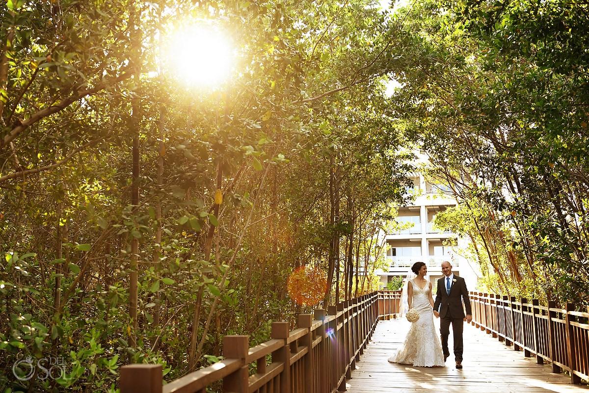 candid sunset destination wedding portrait bridge Paradisus Playa del Carmen, Mexico
