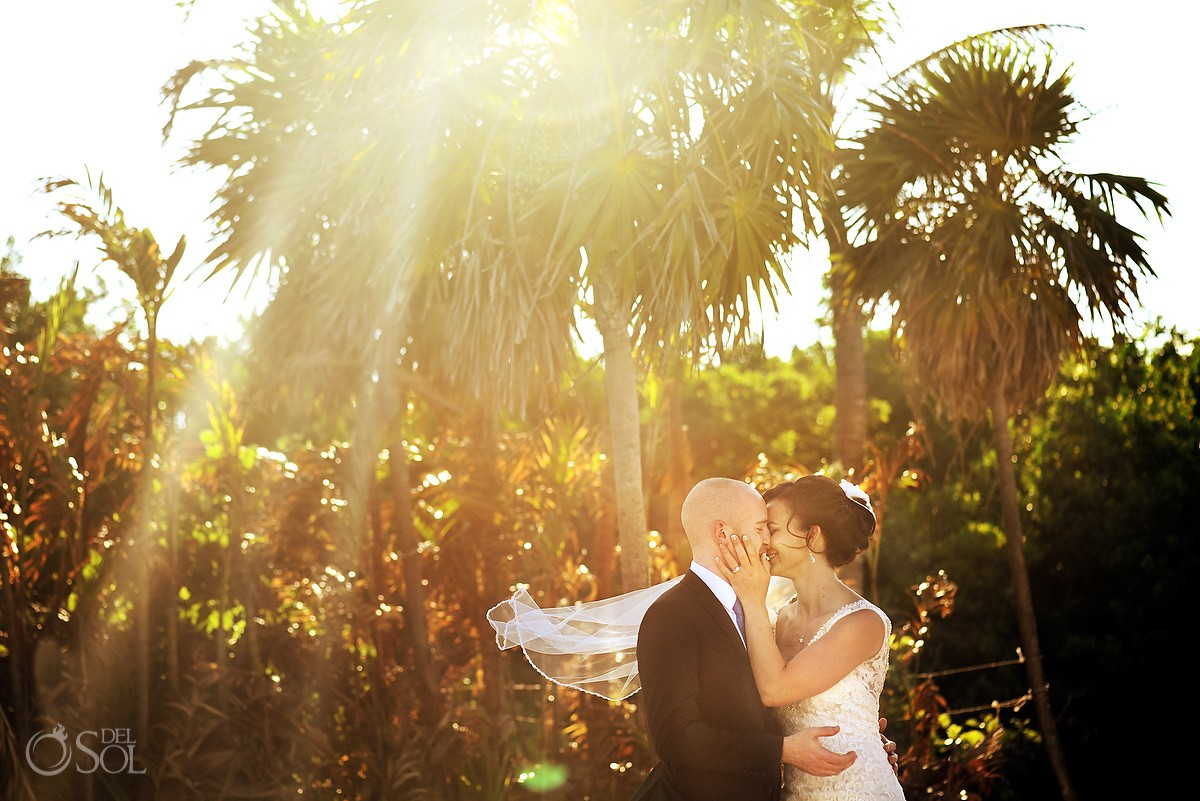 Beautiful light golden hour sunset wedding portrait bride laughing Paradisus beach