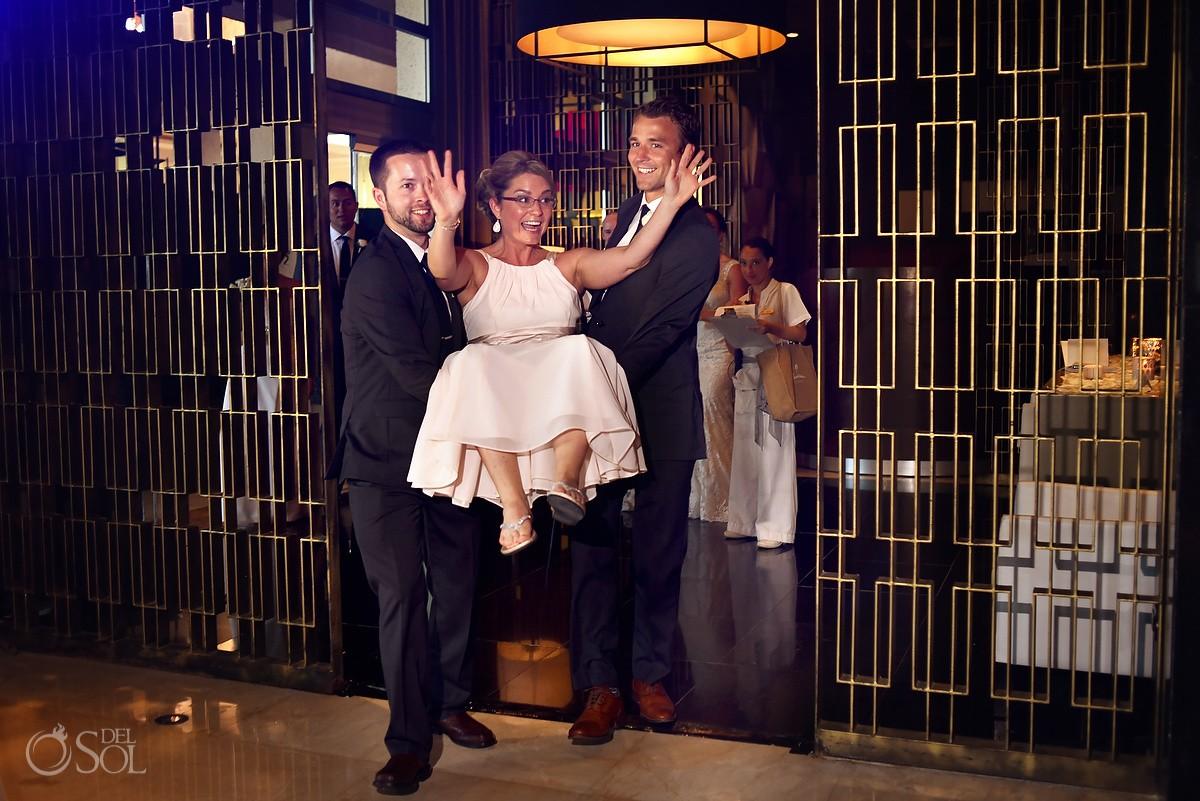 funny bridal party entrances destination wedding reception Hadar Restaurant Paradisus Playa del Carmen, Mexico