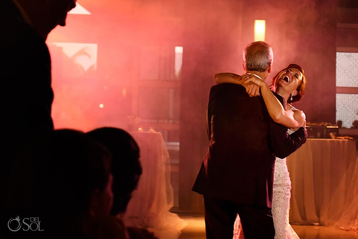 happy bride laughing first dance destination wedding reception Hadar Restaurant Paradisus Playa del Carmen, Mexico