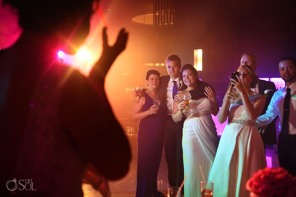 happy wedding guests laughing destination wedding reception Hadar Restaurant Paradisus Playa del Carmen, Mexico
