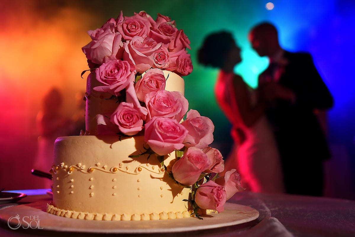 creative wedding portrait silhouette wedding cake destination wedding reception Hadar Restaurant Paradisus Playa del Carmen, Mexico