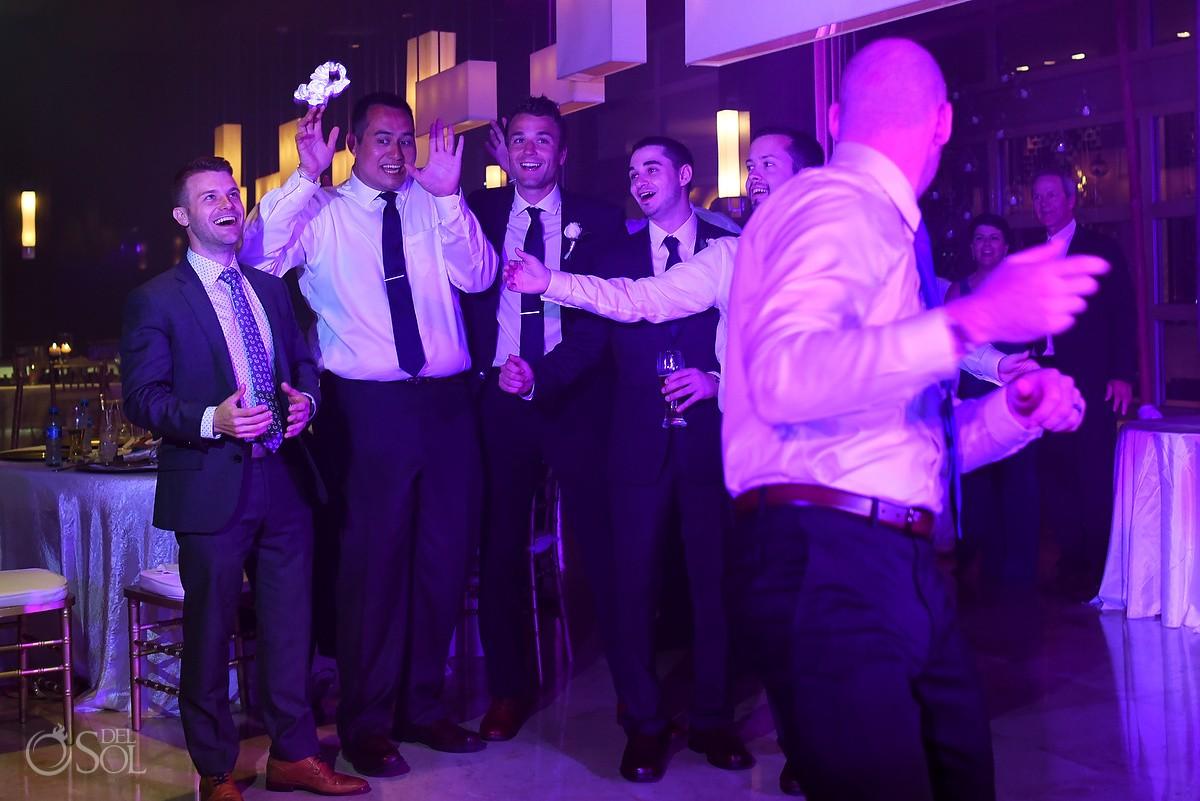 garter toss destination wedding reception Hadar Restaurant Paradisus Playa del Carmen, Mexico