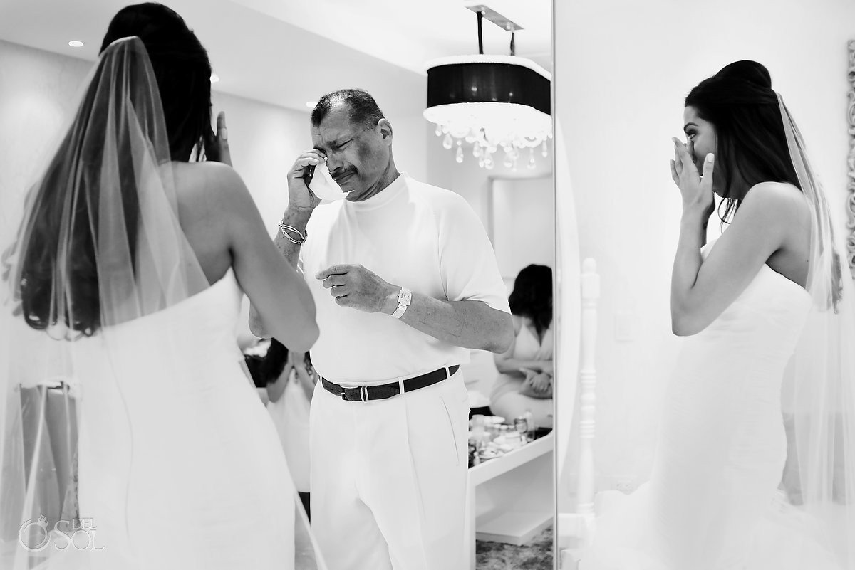 First Look bride and father, black white photography Riviera Maya, Mexico
