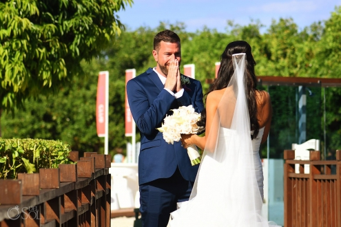 Groom reaction first look beach destination wedding, Paradisus Gabi Brigde, Riviera Maya, Mexico