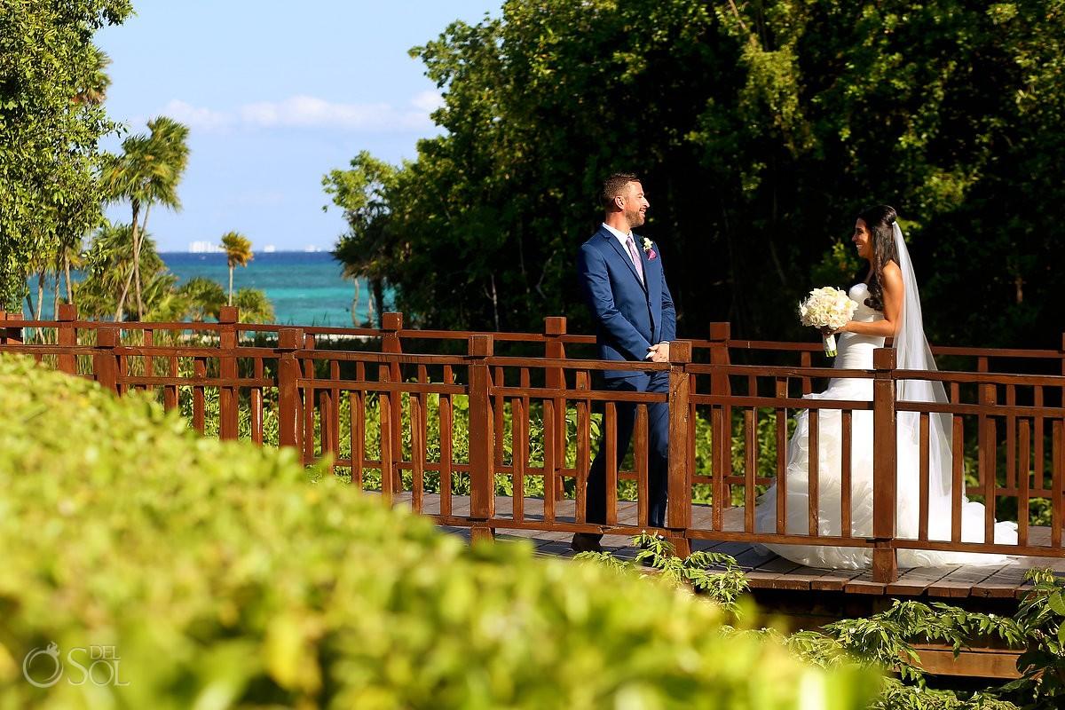 Bride reaction first look destination wedding, Paradisus Gabi Brigde, Riviera Maya, Mexico