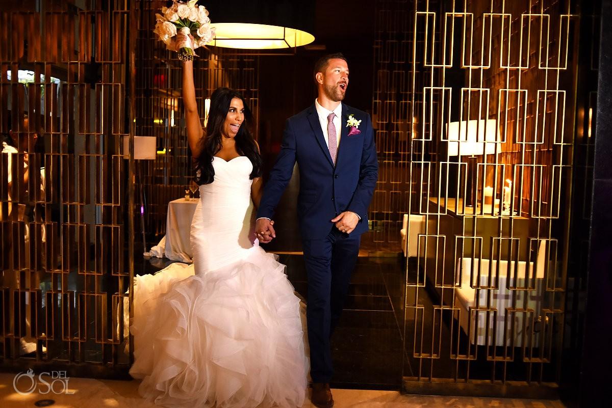Bride and Groom arrive destination wedding reception, Hadar Restaurant, Paradisus La Esmeralda Riviera Maya, Mexico