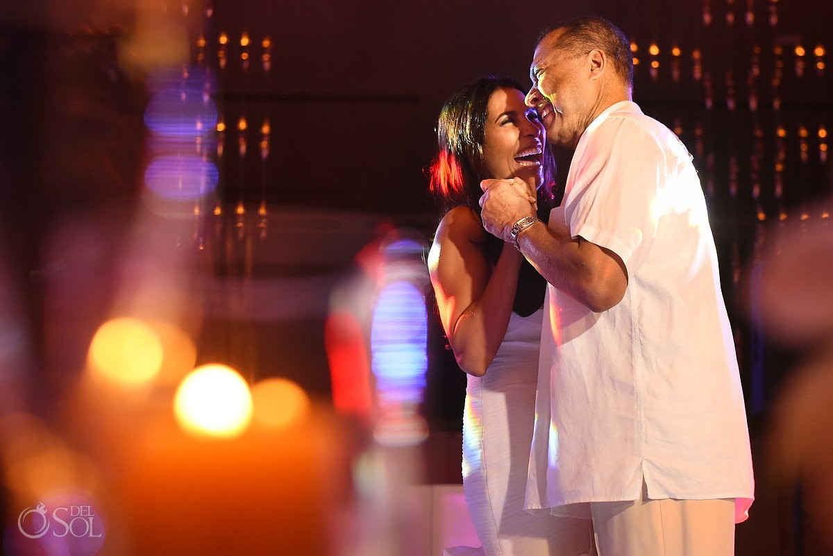 Bride and father dancing first dance reception, Paradisus Hadar Restaurant, Playa Del Carmen, Mexico