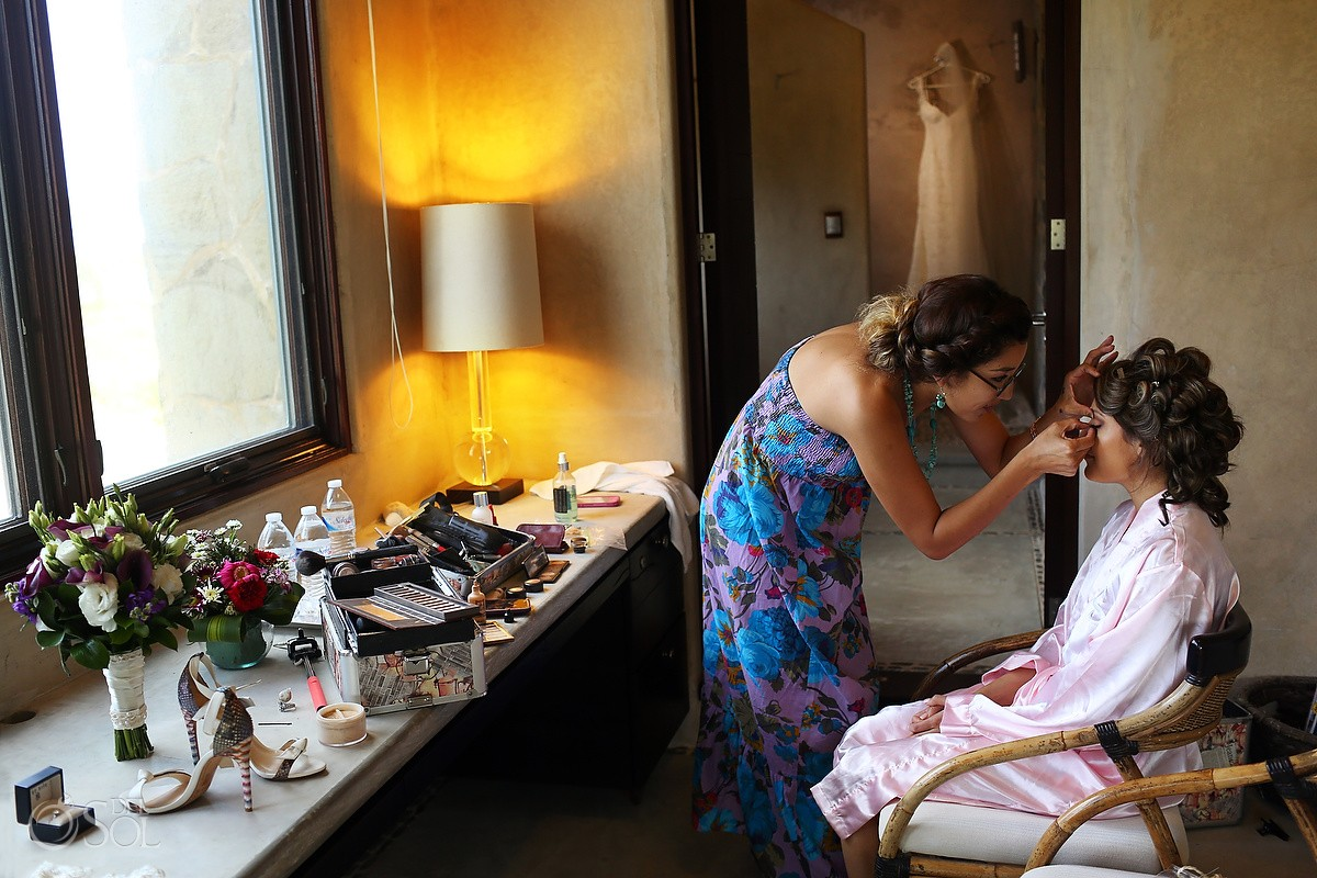 bride getting ready make up Destination Wedding Casa Maya Kaan, Sian Ka'an, Tulum, Mexico