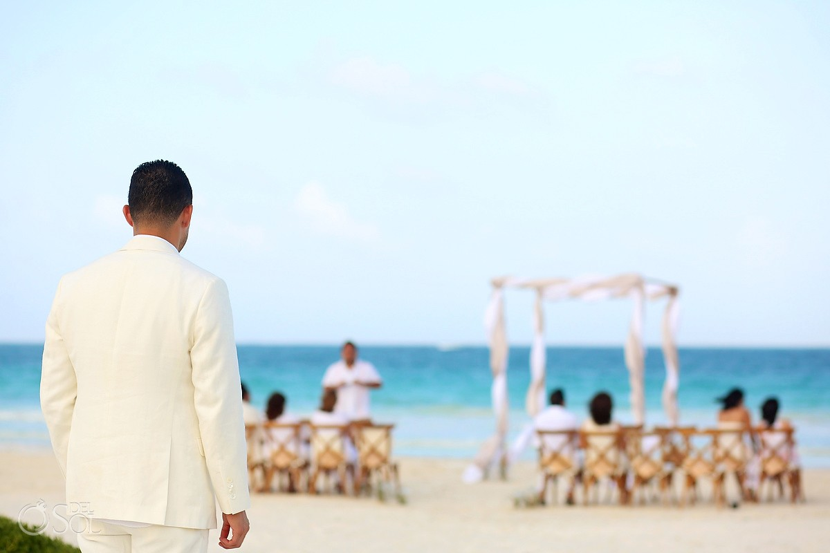 groom arrives beach Destination Wedding Casa Maya Kaan, Sian Ka'an, Tulum, Mexico