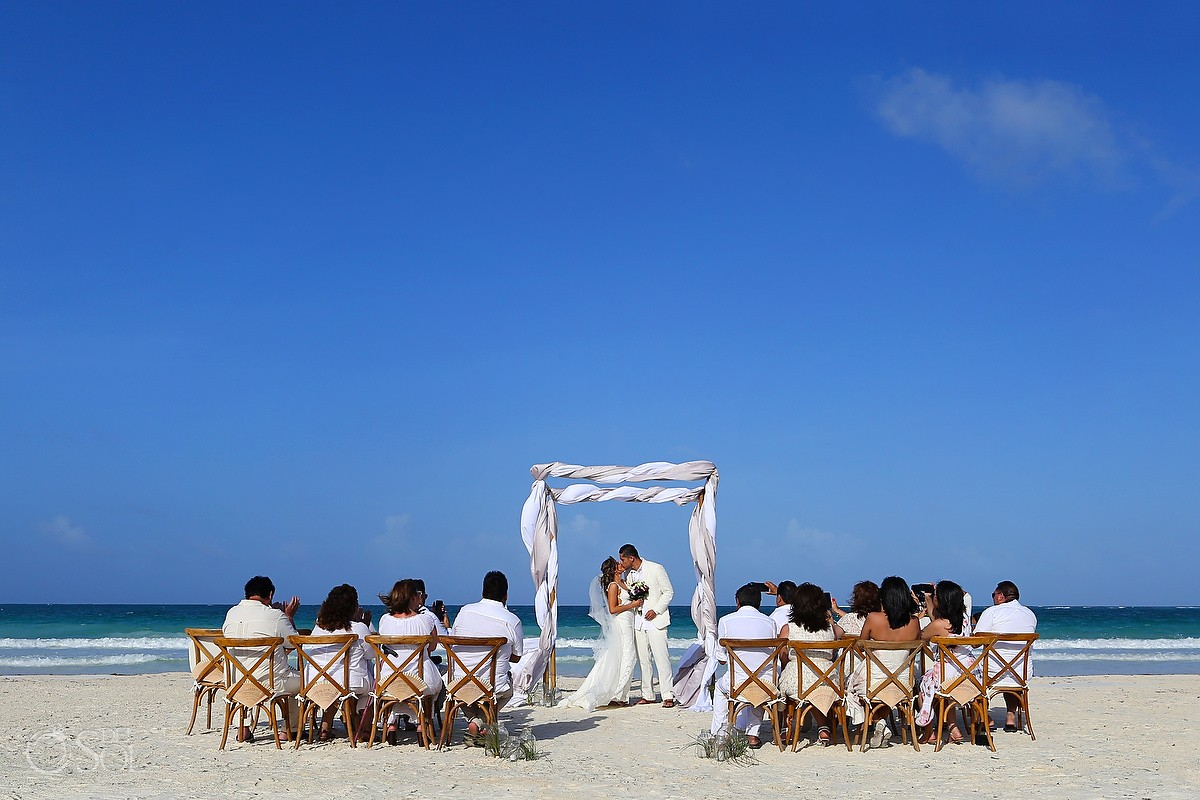 first kiss rustic chic beach Destination Wedding Casa Maya Kaan, Sian Ka'an, Tulum, Mexico