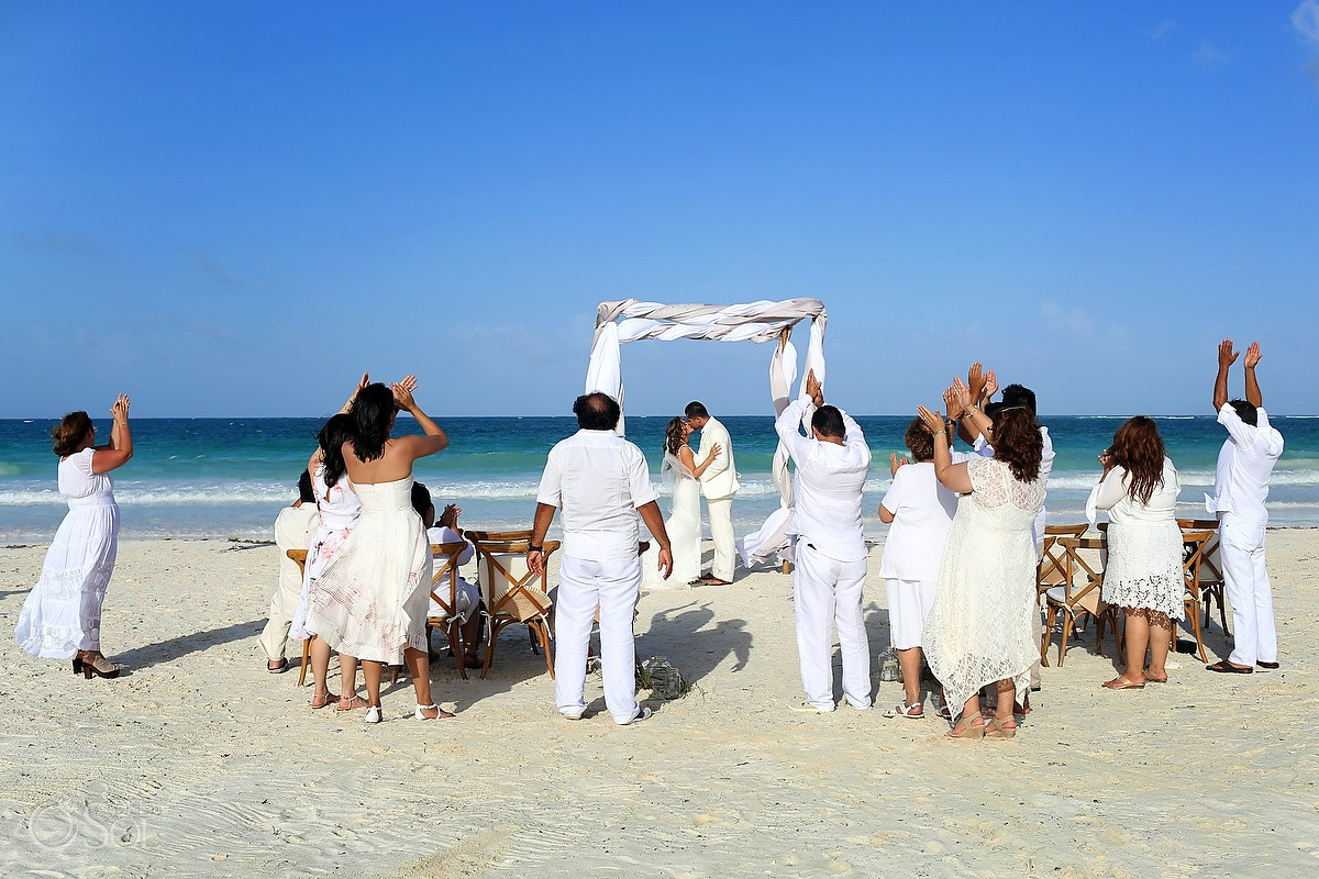 wedding guests cheering Destination Wedding Casa Maya Kaan, Sian Ka'an, Tulum, Mexico