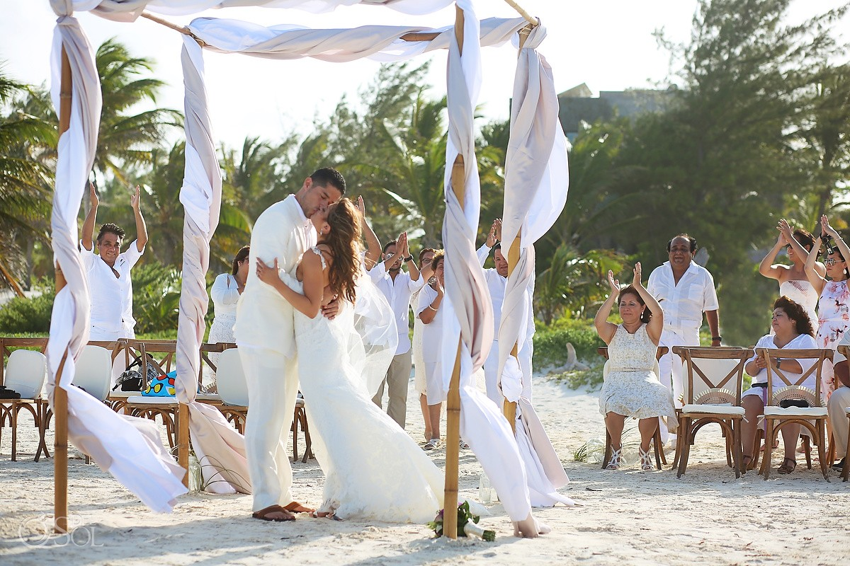first kiss beautiful beach Destination Wedding Casa Maya Kaan, Sian Ka'an, Tulum, Mexico