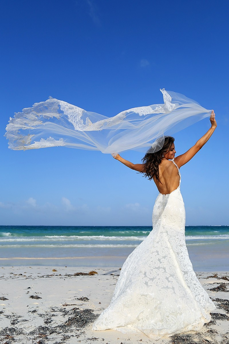bride bridal portrait veil beach Destination Wedding Casa Maya Kaan, Sian Ka'an, Tulum, Mexico