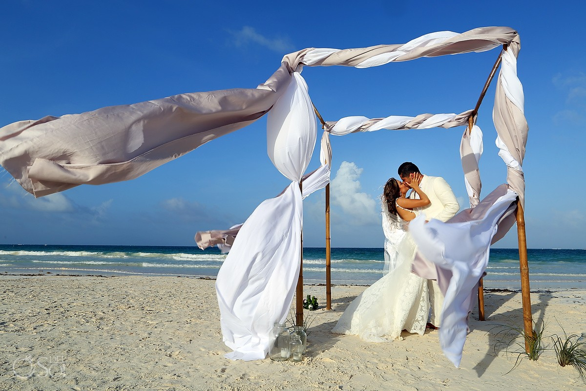 creative Destination Wedding portrait gazebo chuppah Casa Maya Kaan, Sian Ka'an, Tulum, Mexico