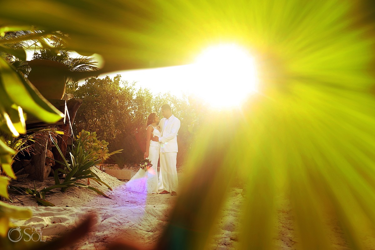 sunset Destination Wedding portrait Casa Maya Kaan, Sian Ka'an, Tulum, Mexico