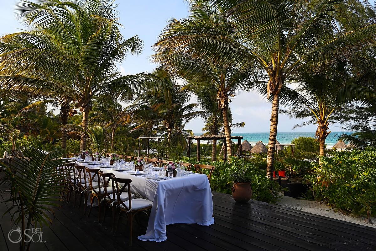 Destination Wedding reception dinner table set up Casa Maya Kaan, Sian Ka'an, Tulum, Mexico