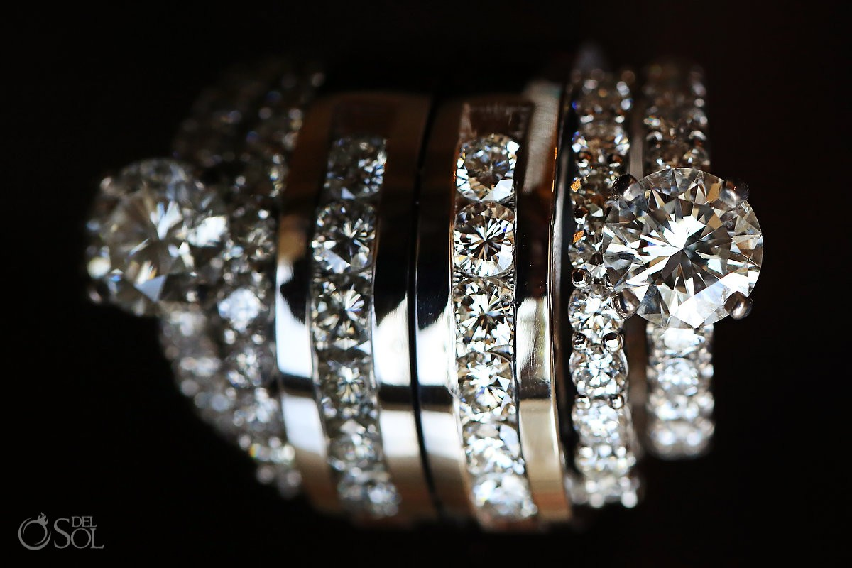 Macro diamond engagement wedding ring detail photo, getting ready, Destination Wedding Hard Rock Hotel Riviera Maya