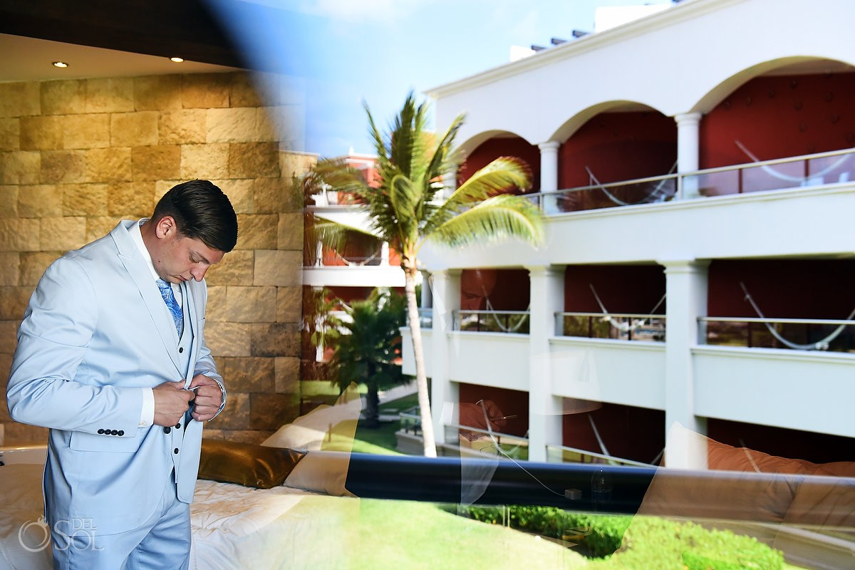 Artistic reflection groom getting ready Destination Wedding Hard Rock Hotel Riviera Maya