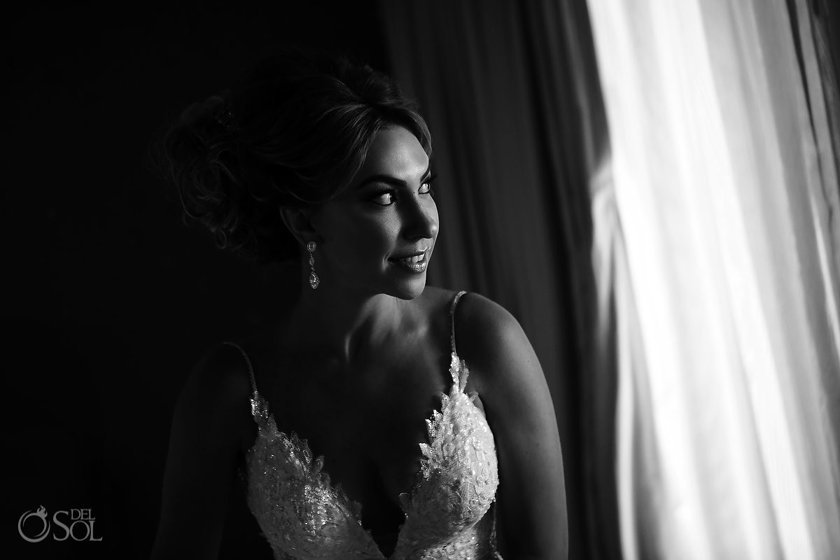 black white bride bridal portrait Destination Wedding San Charbel Chapel Hard Rock Hotel Riviera Maya