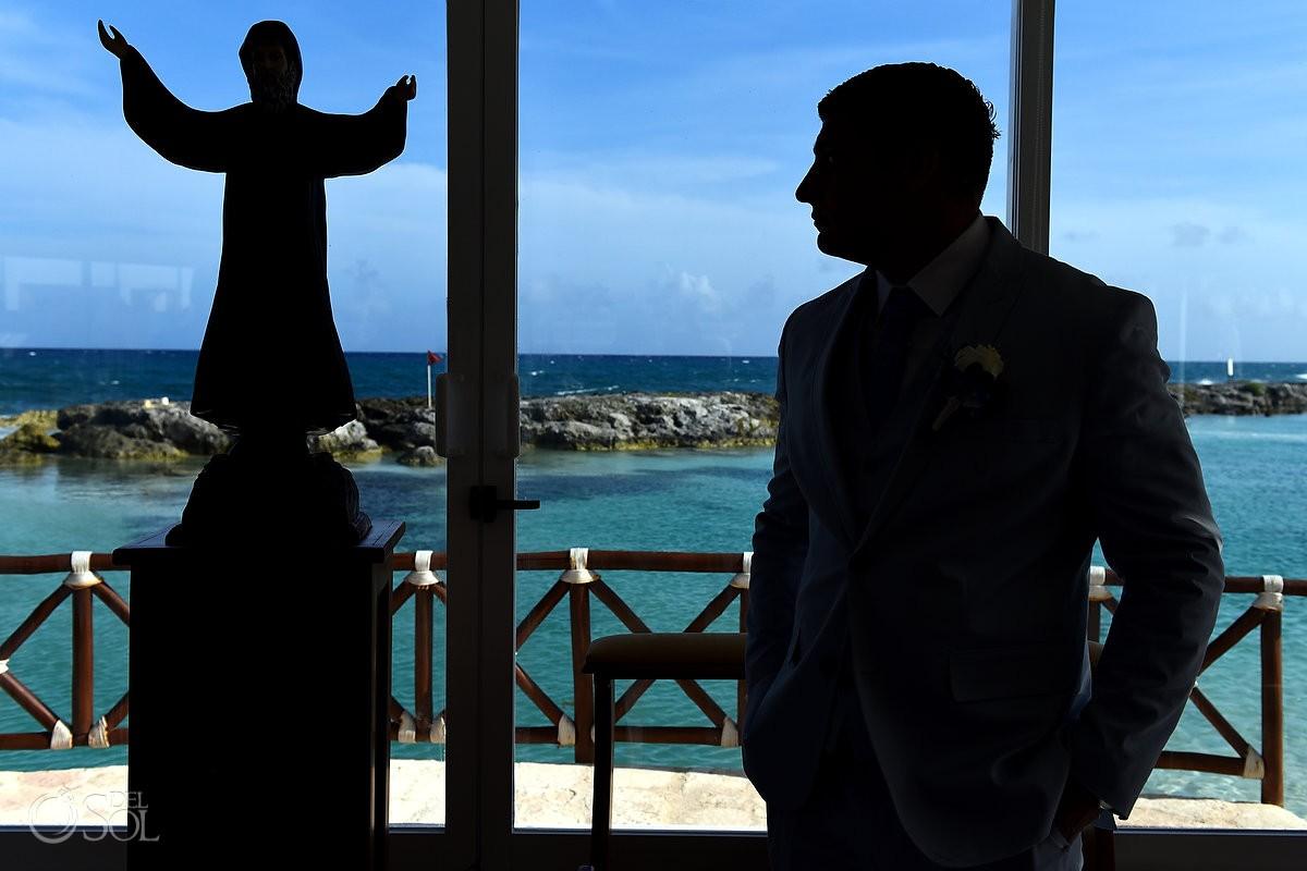 Artistic groom portrait silhouette Coptic Christian Orthodox Wedding San Charbel Chapel Hard Rock Hotel Riviera Maya