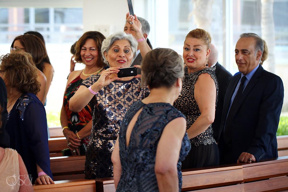 guests watching processional Coptic Christian Orthodox Wedding San Charbel Chapel Hard Rock Hotel Riviera Maya