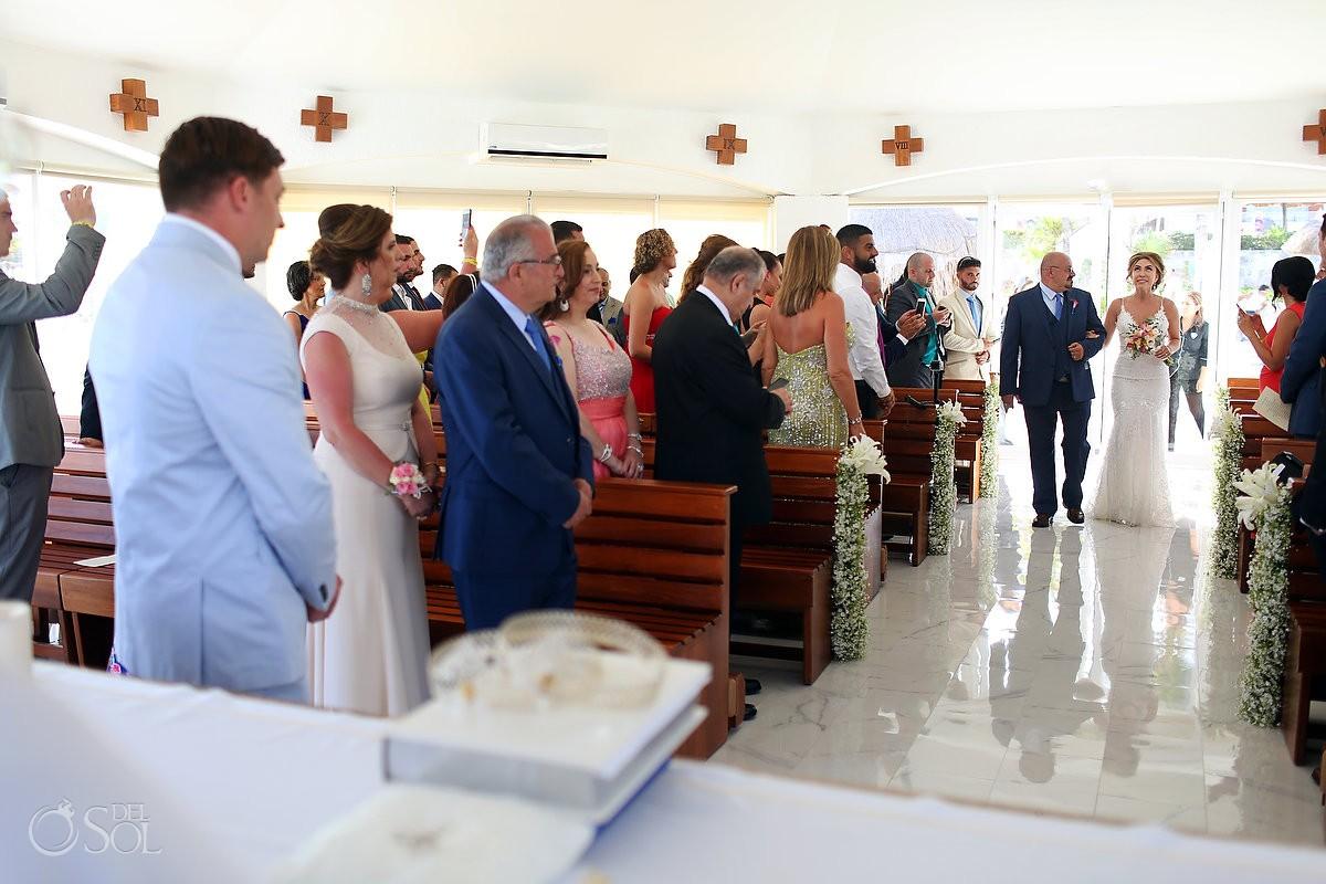 bride entrance Coptic Christian Orthodox Wedding San Charbel Chapel Hard Rock Hotel Riviera Maya